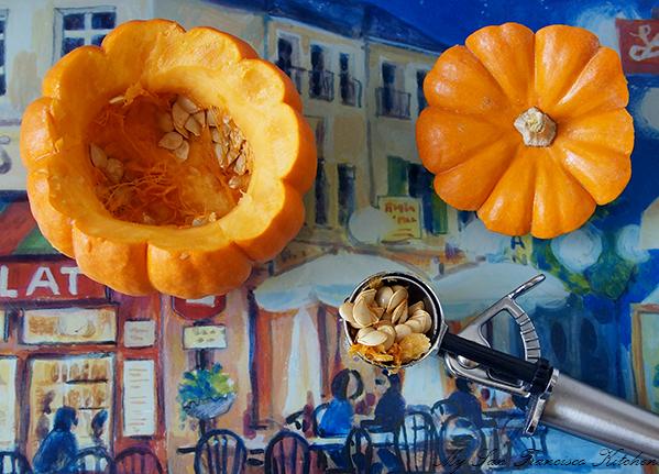 scooping pumpkin