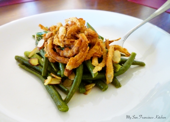 Green Beans with Toasted Almonds and Fried Onions Recipe