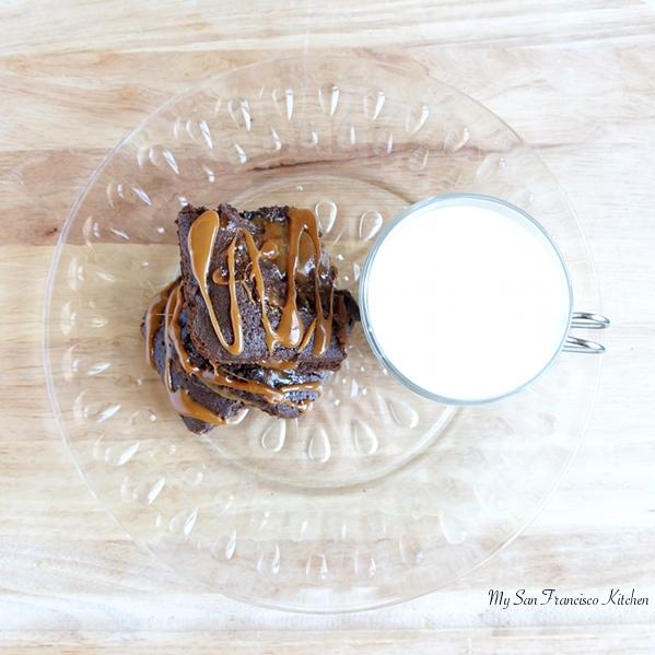 caramel brownies and milk