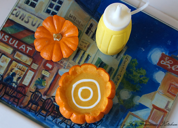 decorating pumpkin soup